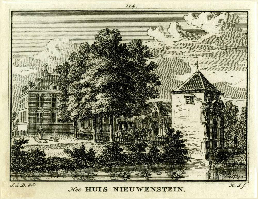 Kasteel Nijenstein in Hagestein. Tekening Jan de Beijer, gravure Hendrik Spilman(Uit: Het Verheerlykt Nederland, Isaac Tirion, 1745/1774)